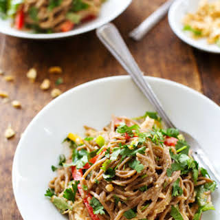 Spicy Peanut Chicken Soba Noodle Salad.