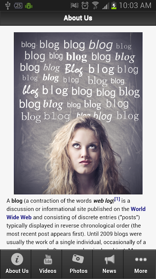 Blogging - screenshot