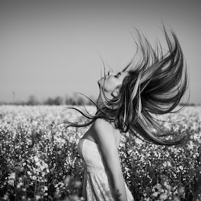 free girl by Alex Parlog - People Portraits of Women ( free, b&w, girl, black an white, flowers, Free, Freedom, Inspire, Inspiring, Inspirational, Emotion )