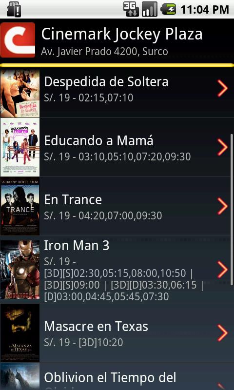 Cine movil cartelera en per android apps on google play - Cartelera cine de verano aguadulce ...