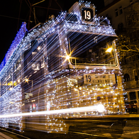 Christmas Light Tram by István Decsi - Public Holidays Christmas ( hungary, budapest, christmas, tram, light_tram, , city at night, street at night, park at night, nightlife, night life, nighttime in the city )
