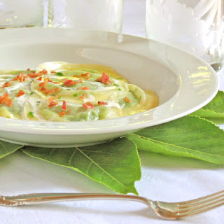 "Three ""Pea"" Ravioli with Rosemary Cream"