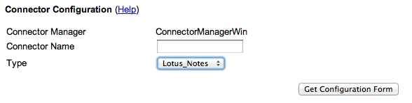 Connector Configuration Lotus Notes