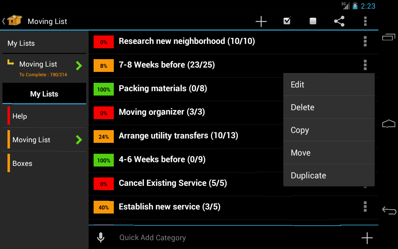 Moving Planner- screenshot