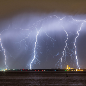 Rockingham Multi Strikes by Steve Brooks - Landscapes Weather ( canon, clouds, water, lightning, sky, industrial, australia, ocean, storms, 6d, western australia,  )