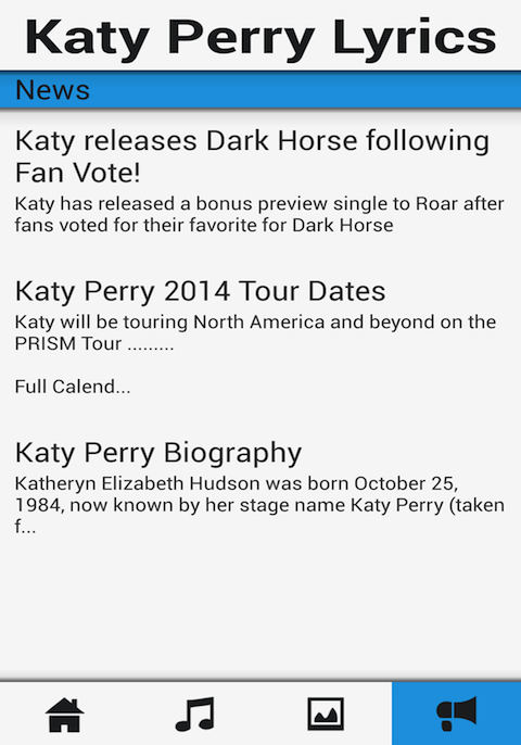 Katy Perry Songs & Lyrics App - screenshot
