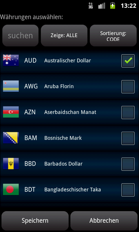 Währungsrechner Easy Currency – Screenshot