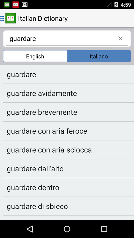 Italian English Dictionary +- screenshot