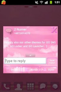 GO SMS Pro Theme Pink Clouds- screenshot thumbnail