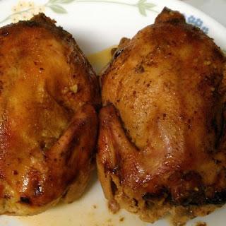 Slow Cooker Stuffed Cornish Game Hens With Orange Sauce.