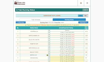 Screenshot of Indian Railways @etrain.info
