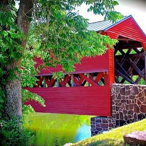red coverd bridge by Karen Hayes-higley - Buildings & Architecture Bridges & Suspended Structures