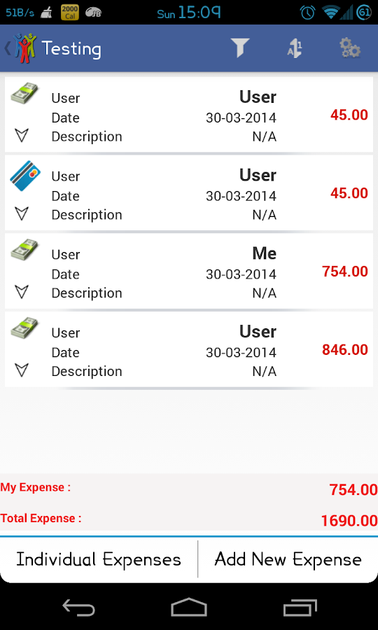 Expense Manager & Divider - screenshot
