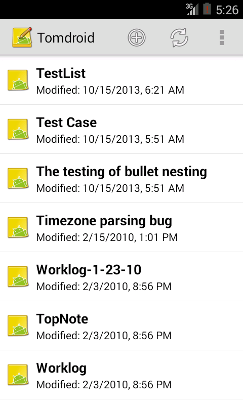 Tomdroid notes - screenshot