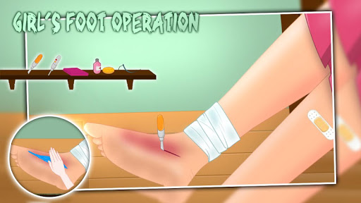 Girl's foot operation