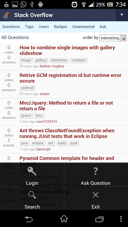 SoClient - StackOverflow - screenshot