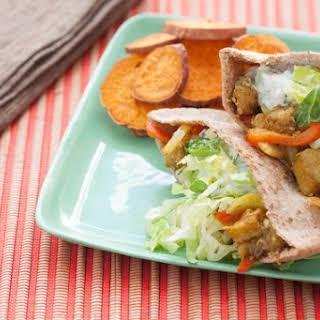 Eggplant Shawarma Tzatziki, Hummus & Baked Sweet Potato Rounds.