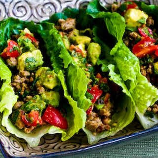 Turkey Lettuce Wrap Tacos with Chiles, Cumin, Cilantro, Lime and Tomato-Avocado Salsa.