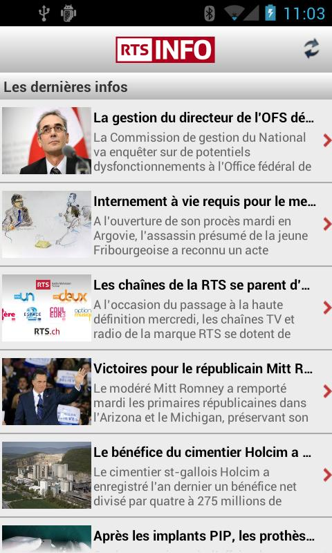 RTSinfo (Android 2.x)- screenshot