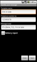Screenshot of aParto, send SMS in one click