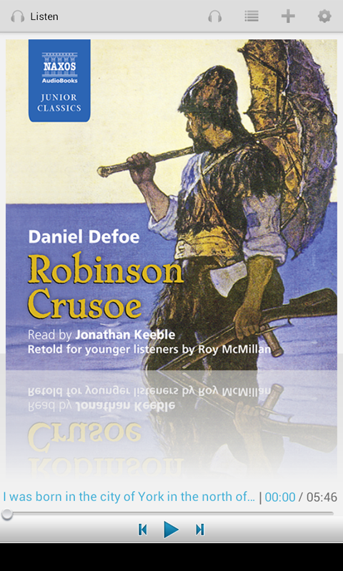 Robinson Crusoe: Audiobook App- screenshot