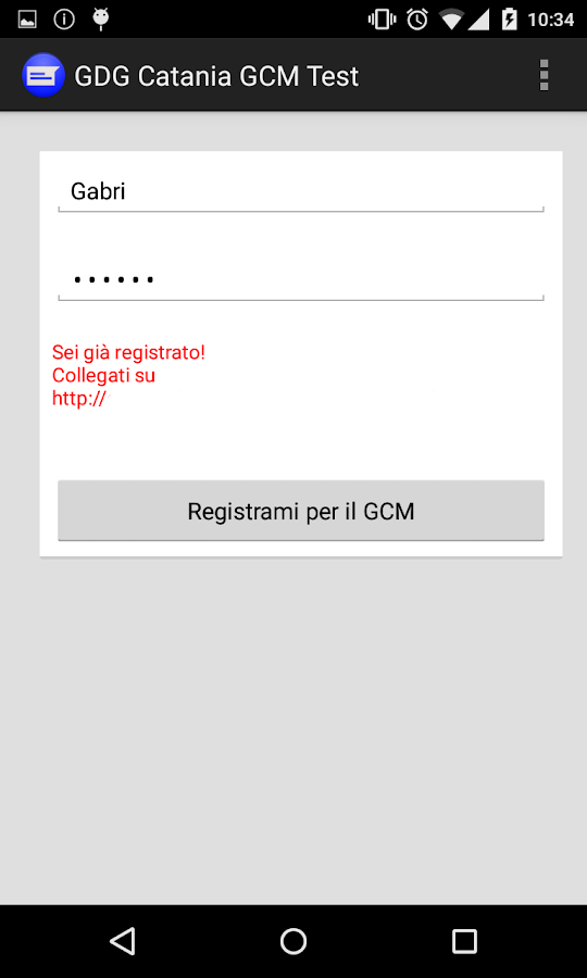 GDGCatania GCM Test- screenshot