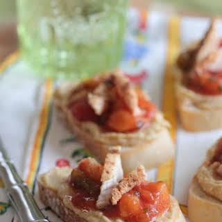 Salsa and Hummus Roasted Chicken Bruschetta.