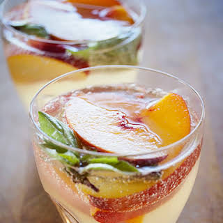 Sparkling Summer Sangria with Lemongrass, Ginger and Peach.