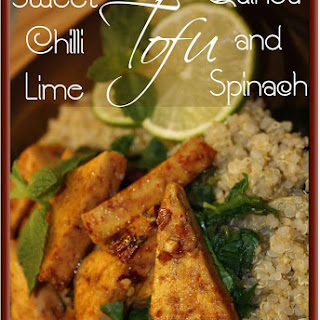 Sweet Chilli-Lime Tofu with Wok steamed Spinach & Quinoa