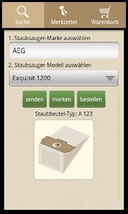 Einkaufsliste für Staubbeutel – Miniaturansicht des Screenshots
