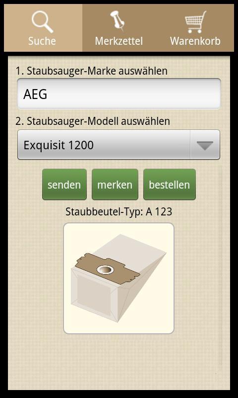 Einkaufsliste für Staubbeutel – Screenshot