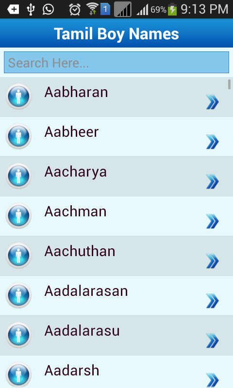 Tamil Baby Names Meaning Screenshot