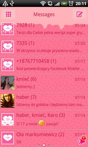 GO SMS Pro Crazy Hearts Theme