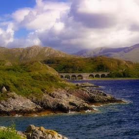 Scottish Highlands by Jim Signorelli - Landscapes Mountains & Hills ( water, scotland, lochs, lake, valley, loch, bridge, bridges,  )
