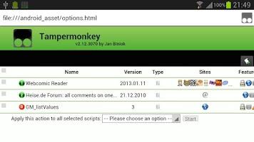 Screenshot of Tampermonkey