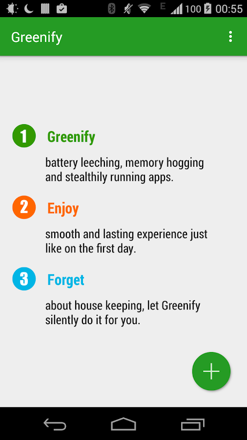 Greenify– captura de ecrã