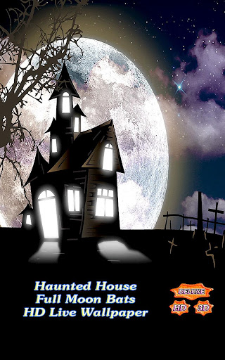 Haunted House Full Moon Bats