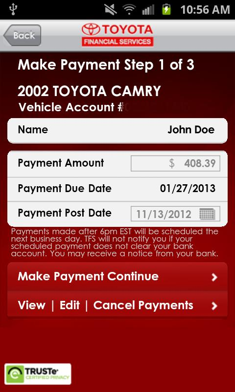 myTFS - Toyota Financial - screenshot