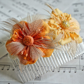 Flower hair comb by Shona McQuilken - Artistic Objects Clothing & Accessories ( music, orange, fascinator, yellow, gold, accessories, comb, hair, sheet, flower,  )