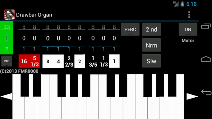 Drawbar Organ Demo - screenshot