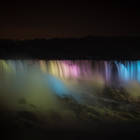 Niagara at Night! by Nicholas Cain - Landscapes Waterscapes ( flowing, colorful, waterscape, niagara falls, gorgeous, colors, waterfall, niagara )
