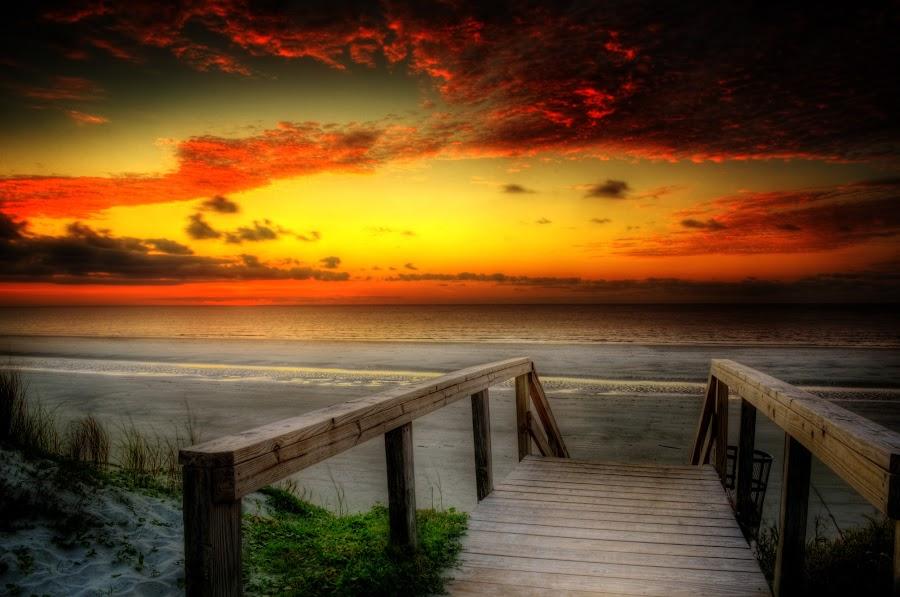 Jekyll Island Morning by Greg Mimbs - Landscapes Beaches ( beach access, water, clouds, sand, dune, georgia, ocean, beach, atlantic, jekyll island morning, coast, greg mimbs, dune crossing, sky, sunrise, jekyll island, surf,  )