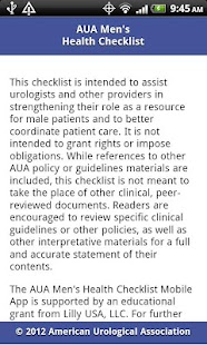 AUA Men's Health Checklist - screenshot thumbnail