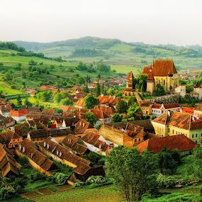 colours of Biertan by Nicu Hoandra - Landscapes Mountains & Hills ( hills, castle, villages, spring, colours )