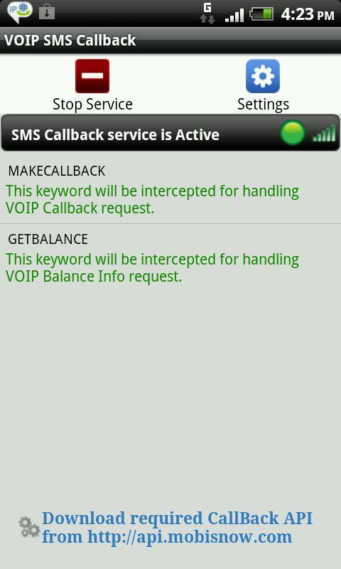 VoIP SMS CallBack- screenshot