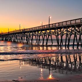 January Sunrise at the Pier by Cathie Crow - Buildings & Architecture Bridges & Suspended Structures ( piers, nature, surfside pier, sunrise, beach, sunrise photography )