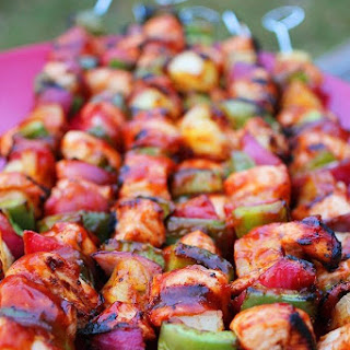 BBQ Chicken, Bell Pepper and Pineapple Skewers