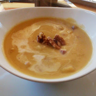 Acorn Squash Soup With Corned Beef And Walnuts