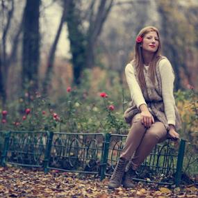 Autumn rose by Sabin Malisevschi - People Portraits of Women ( dreamy, park, dream, beautiful, mood, nice, beauty, leaves, portrait, foilage, alley, rose, blonde, girl, autumn, color, garden )