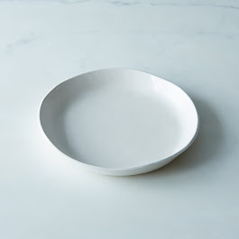 White Ceramic Shallow Bowl